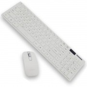 Kit Teclado + Mouse Sem Fio Wireless Usb Exbom BK-S1000 Branco com Capa Silicone