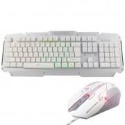Kit Teclado Semi Mecânico + Mouse Gamer Profissional Usb Abnt2 Led Metal BK-G200 GM-600 Prata Branco