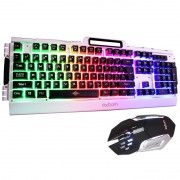 Kit Teclado Semi Mecânico Mouse Gamer Usb Abnt2 Iluminado Led Rgb Metal Exbom BK-G3000 Prata