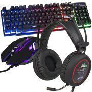 Kit Teclado Semi Mecânico Mouse Headset 7.1 Gamer Usb P2 Abnt2 Led BK152C KPV19 KP401 Preto