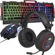 Kit Teclado Semi Mecânico Mouse Headset 7.1 Gamer Usb P2 Abnt2 Led Metal BKG3000 KP401 Grafite Preto