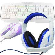 Kit Teclado Semi Mecânico Mouse Headset Gamer Usb P2 Abnt2 Led BKG200 GM600 KP396 Prata Branco