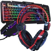 Kit Teclado Semi Mecânico Mouse Headset Gamer Usb P2 Abnt2 Led BKG200 KPV19 GHX30 Preto Vermelho