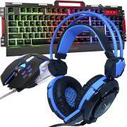 Kit Teclado Semi Mecânico Mouse Headset Gamer Usb P2 Abnt2 Led Metal BKG3000 GHX30 Grafite Azul