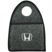 Lixeira Lixinho Automotiva Carro Carpete Logo Bordado Honda para Câmbio Grafite