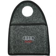 Lixeira Lixinho Automotiva Carro Carpete Logo Bordado Audi para Câmbio Grafite
