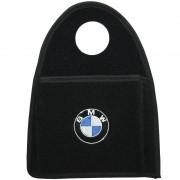 Lixeira Lixinho Automotiva Carro Carpete Logo Bordado BMW para Câmbio Preta