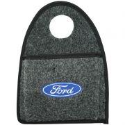 Lixeira Lixinho Automotiva Carro Carpete Logo Bordado Ford para Câmbio Grafite