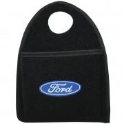 Lixeira Lixinho Automotiva Carro Carpete Logo Bordado Ford para Câmbio Preta