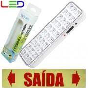 Luminária de Emergência Bivolt 30 Leds 2W Exbom LE-PR40 Recarregável Lâmpada Luz