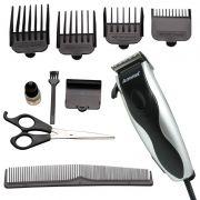 Máquina de Cortar Cabelo Elétrica 110V Aparar Barba Pezinho 4 Pentes Amvox AM 760 Prata/Preta