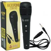 Microfone Dinâmico com Fio P10 Cabo 1,5 Metros para Karaokê e Caixa de Som Infokit MIC-PF10 Preto
