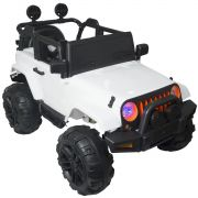 Mini Jipe Elétrico Infantil Criança 12V com Controle Remoto Luz Som Usb Mp3 Carro Importway Branco