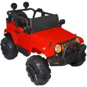 Mini Jipe Elétrico Infantil Criança 12V com Controle Remoto Luz Som Usb Mp3 Carro Importway Vermelho