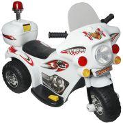 Mini Moto Elétrica Infantil Triciclo Criança Bateria 6V Importway BW002-B Branco Polícia Bivolt