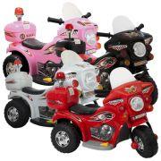 Mini Moto Elétrica Infantil Triciclo Criança Bateria 6V Importway BW002 Polícia Bivolt