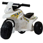 Mini Moto Elétrica Triciclo Criança Infantil Bateria 6V Branca Polícia Bivolt