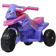Mini Moto Elétrica Triciclo Criança Infantil Bateria 6V Rosa Roxa Unicórnio Bivolt