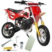 Mini Moto Infantil Gasolina 2 Tempos 49CC Cross Trilha Off Road Importway WVDB-006 Dirt Vermelha