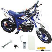 Mini Moto Infantil Partida Elétrica Gasolina 2T 49CC Cross Trilha Off Road WVDB-005AZ Azul