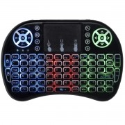 Mini Teclado Mouse Iluminado Led Touchpad Wireless Bluetooth Wifi Sem Fio Tv Smart Usb I8 Preto