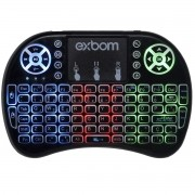 Mini Teclado Mouse Touchpad Wireless Iluminado Wifi Sem Fio Exbom BK-BTI8LED Tv Smart Usb Preto