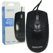 Mouse com Fio Óptico Usb Cabo 1000 Dpi Exbom MS-70 Preto