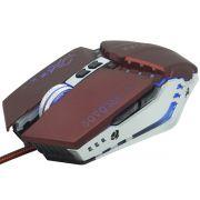 Mouse Óptico Gamer Usb 2400 Dpi 6 Botões Led Rgb 4 Cores Cabo Infokit X Soldado GM-705 Vinho