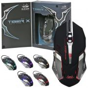 Mouse Óptico Gamer Usb 2400 Dpi 6 Botões Led Rgb 7 Cores Cabo Base Metal Knup Kp-V19 Tiger X Preto