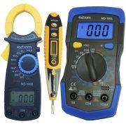 Multímetro Digital MD180L + Alicate Amperímetro MDY400 + Caneta Teste Fase Tensão Corrente CNTT-D10