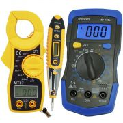Multímetro Digital MD-180L + Alicate Amperímetro MT87 + Caneta Teste Fase Tensão Corrente CNTT-D10