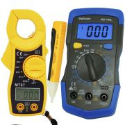 Multímetro Digital MD-180L + Alicate Amperímetro MT87 + Caneta Teste Tensão Energia Fase PZ-1AC-D