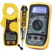 Multímetro Digital MD-200L + Alicate Amperímetro MT87 + Caneta Teste Fase Tensão Corrente CNTT-D10