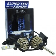 Par Lâmpada Super Led Automotiva Kit 9000 Lumens 12V 24V 48W D-Max Farol H1 6000K