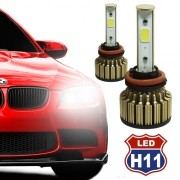 Par Lâmpada Super Led Automotiva Kit 9000 Lumens 12V 24V Farol H11 6000K