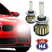 Par Lâmpada Super Led Automotiva Kit 9000 Lumens 12V 24V Farol H4 (Bi - baixa e alta) 6000K