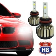 Par Lâmpada Super Led Automotiva Kit 9000 Lumens 12V 24V Farol H8 6000K