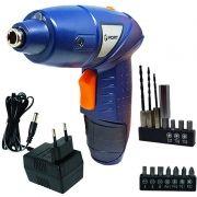 Parafusadeira e Furadeira Elétrica sem Fio Bateria 4,8V Recarregável 220V Fort FT-1021 Azul