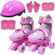 Patins Clássico Quad 4 Rodas Roller + Acessórios Feminino Rosa Tam 37 38 39 40 Importway BW-017-R