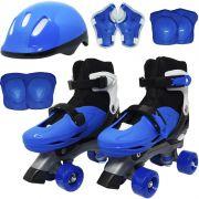 Patins Clássico Quad 4 Rodas Roller + Acessórios Masculino Azul Tam 33 34 35 36 Importway BW-017-AZ