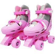 Patins Clássico Quad 4 Rodas Roller de Rua Feminino Rosa Tamanho 33 34 35 36 Importway BW-016-R