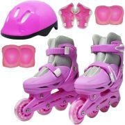 Patins Roller In Line 4 Rodas Infantil Feminino + Acessórios Rosa Tamanho 29 30 31 32 Importway