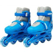 Patins Roller In Line 4 Rodas Infantil Masculino Azul Tamanho 37 38 39 40 Importway BW-018-AZ