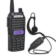 Rádio Comunicador HT Profissional Dual Band UHF VHF FM Baofeng UV82 Preto + Fone