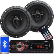 Rádio Mp3 Automotivo Bluetooth Fm Usb 6620BSC + Par Alto Falante Roadstar 6,5 Pol 165W Rms RS-165