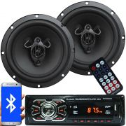 Rádio Mp3 Automotivo Bluetooth Fm Usb 6630BSC + Par Alto Falante Roadstar 6,5 Pol 165W Rms RS-165
