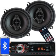 Rádio Mp3 Automotivo Bluetooth Fm Usb 6650BSC + Par Alto Falante Roadstar 5 Pol 110W Rms RS-155
