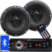 Rádio Mp3 Automotivo Bluetooth Fm Usb 6650BSC + Par Alto Falante Roadstar 6,5 Pol 165W Rms RS-165