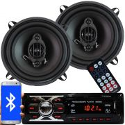 Rádio Mp3 Automotivo Bluetooth Fm Usb 6660BSC + Par Alto Falante Roadstar 5 Pol 110W Rms RS-155