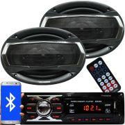 Rádio Mp3 Automotivo Bluetooth Fm Usb 6660BSC + Par Alto Falante Roadstar 6x9 Pol 240W Rms RS-695